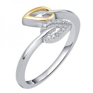 14K 2-Tone Gold Over Sterling Silver Diamonds Ring